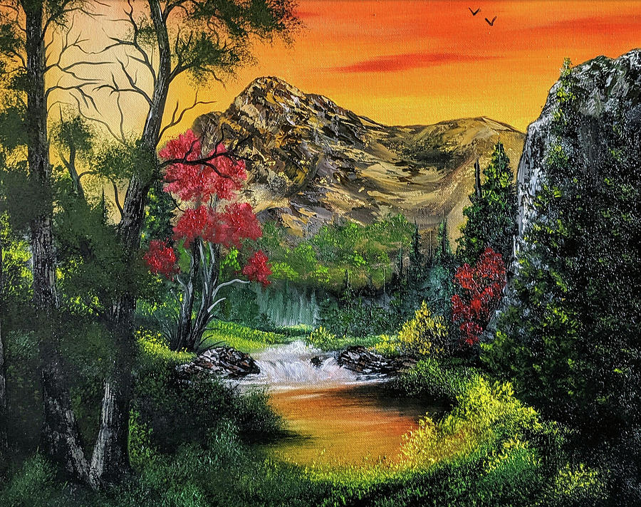 Landscape Painting - Fire Mountain  by Teri Lindley