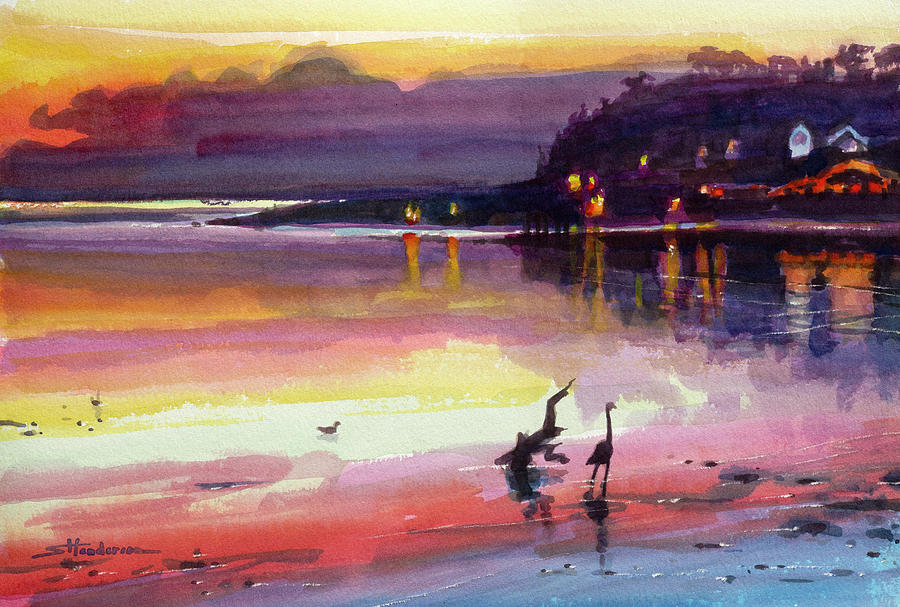 Fire On Shore Painting