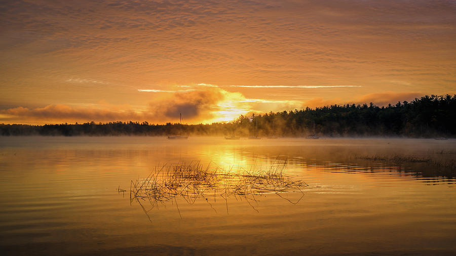 Fire on The Lake, Massabesic Lake N H by Michael Hubley