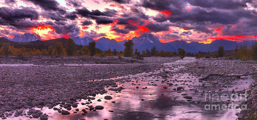 Fire Over The Teton Peaks Panorama by Adam Jewell
