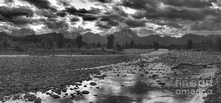 Fire Over The Teton Peaks Panorama Black And White by Adam Jewell
