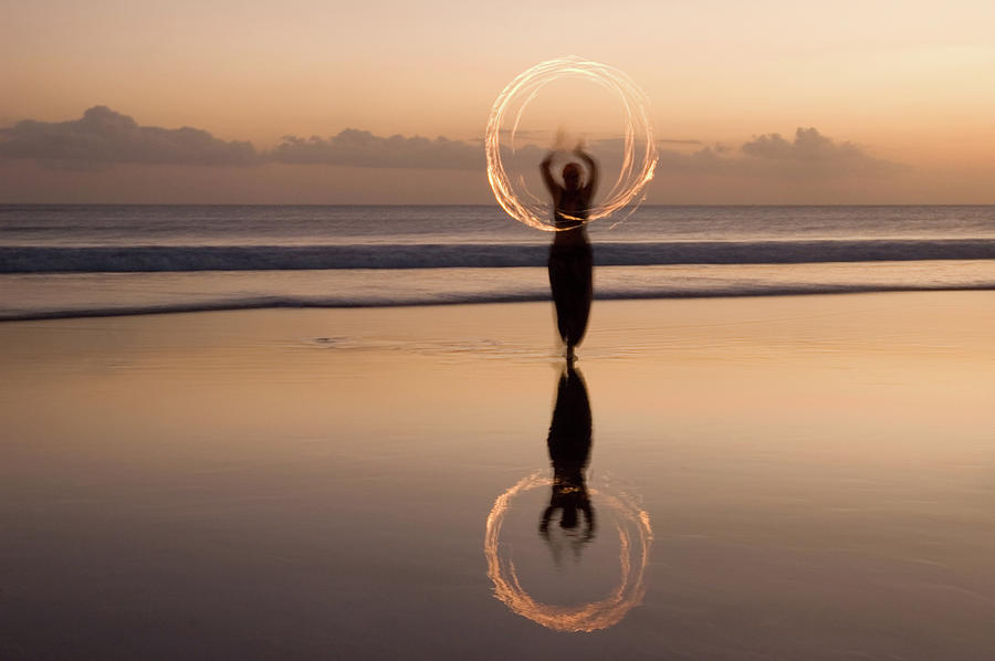 Fire Show On Beach In Bali Photograph by Lp7