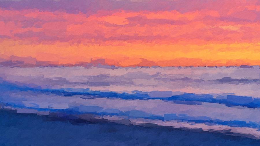 Fire sunset over beach by ANTHONY FISHBURNE