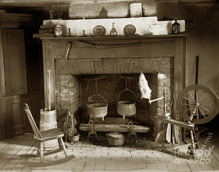Fireplace   made of bricks with cooking cauldron with a rifel 1903 by California Views Archives Mr Pat Hathaway Archives