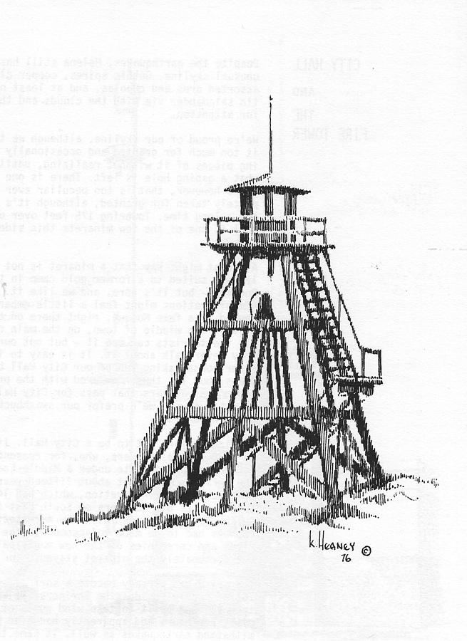 Firetower Drawing - Firetower Helena, Montana by Kevin Heaney