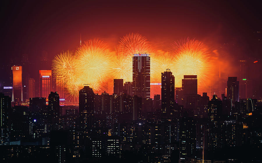Firework Over City Skyline At Night Photograph by D3sign