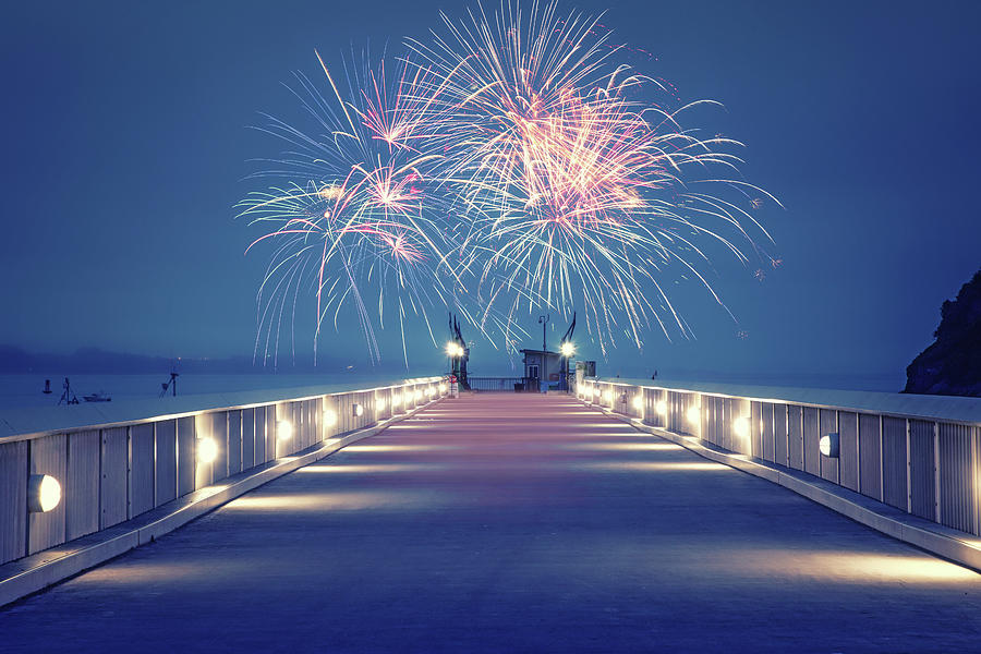 4th Of July Photograph - Fireworks On The Pier by Marnie Patchett