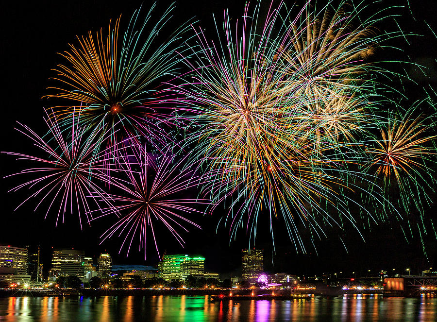 Fireworks Over Portland by Wes and Dotty Weber