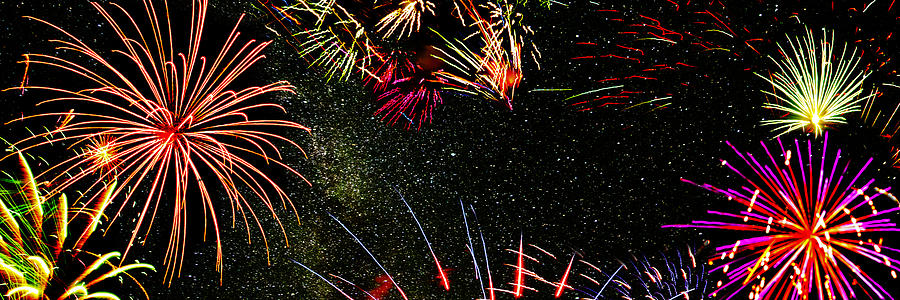 Fireworks Photograph - Fireworks Panorama by Lonnie Paulson
