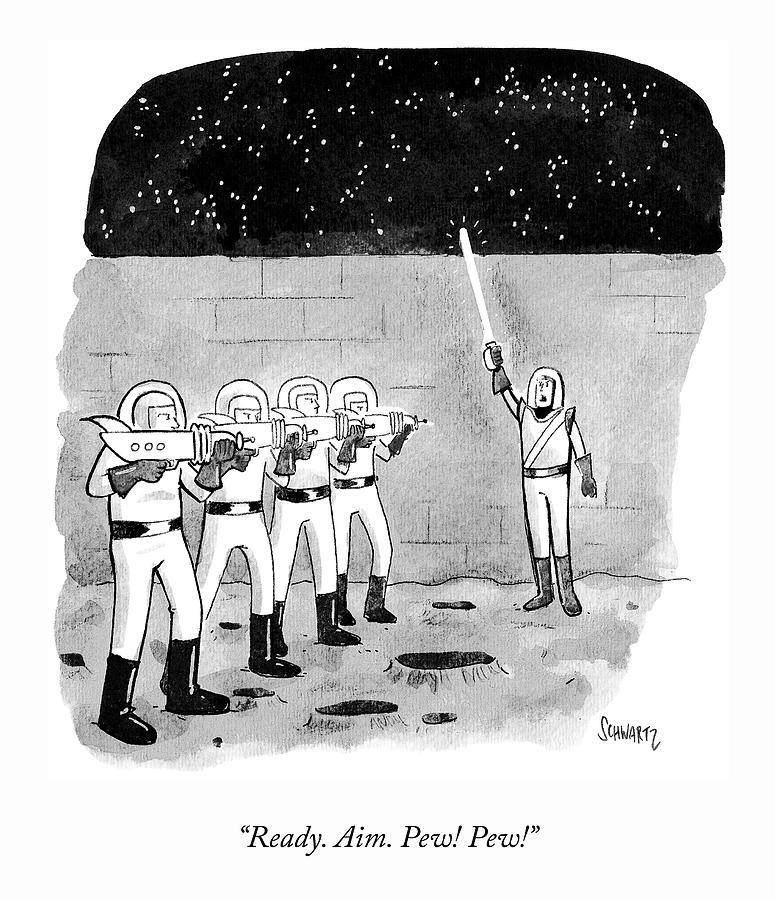 Firing Space Squad Drawing by Benjamin Schwartz