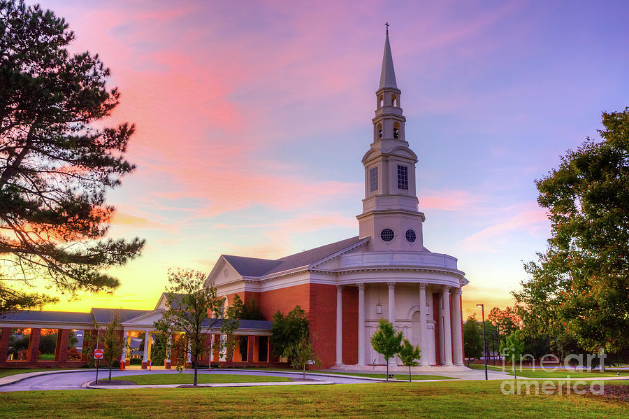 First Baptist Church of Augusta Sunset by SANJEEV SINGHAL