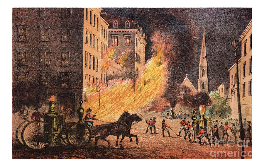 First Century United States illustrations - 1873 - Men fighting large building fire - Illustration by Campwillowlake