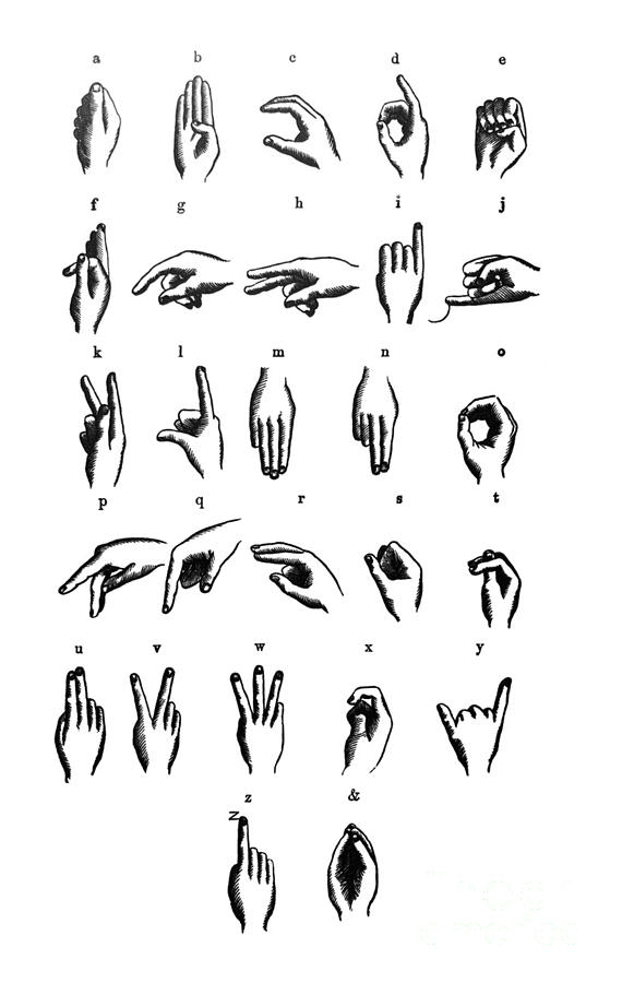 First Century United States illustrations - 1873 - Sign language chart - alphabet - Illustration by Campwillowlake