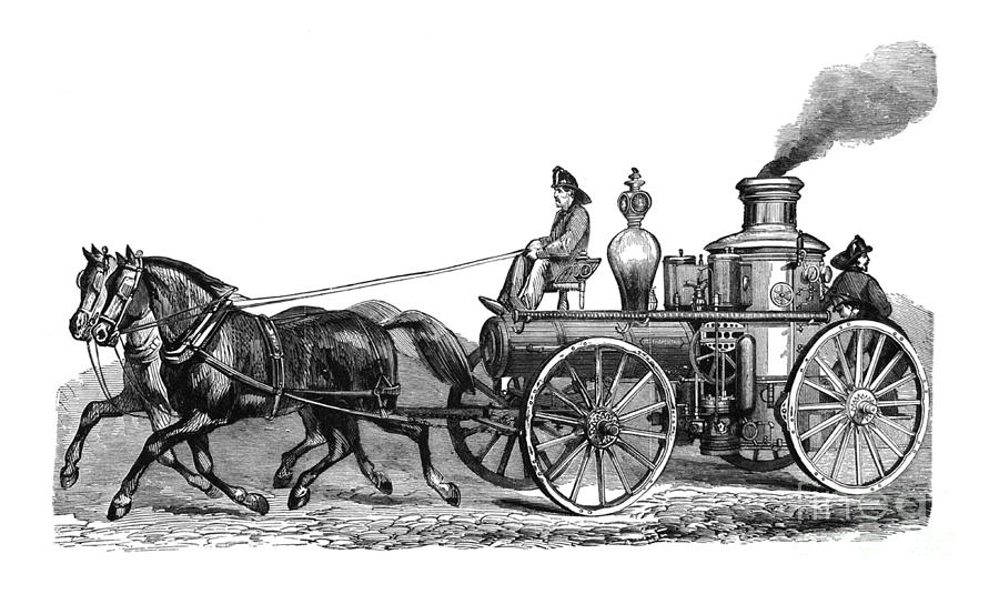 First Century United States illustrations - 1873 - Steam fire engine - Illustration by Campwillowlake