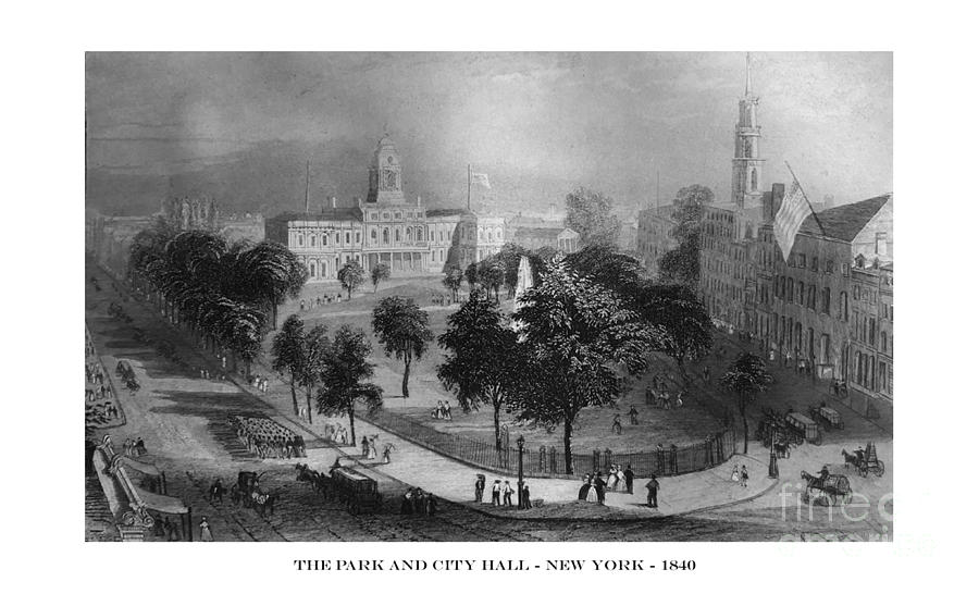 First Century United States illustrations - 1873 - The Park and City Hall - New York - Illustration by Campwillowlake