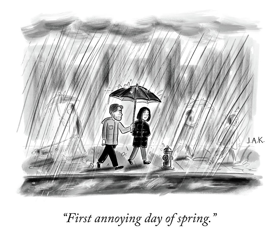 First Day of Spring Drawing by Jason Adam Katzenstein