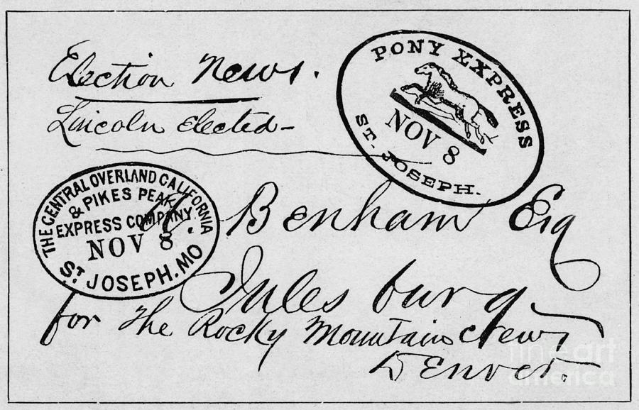 First Letter Carried By Pony Express Photograph by Bettmann