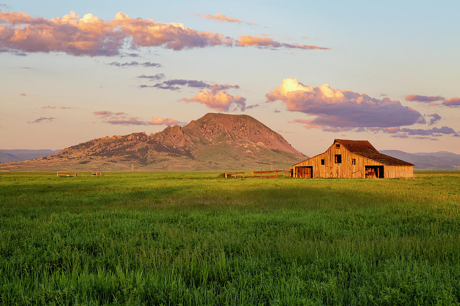 First Light On Barn and Butte by Denise Bush