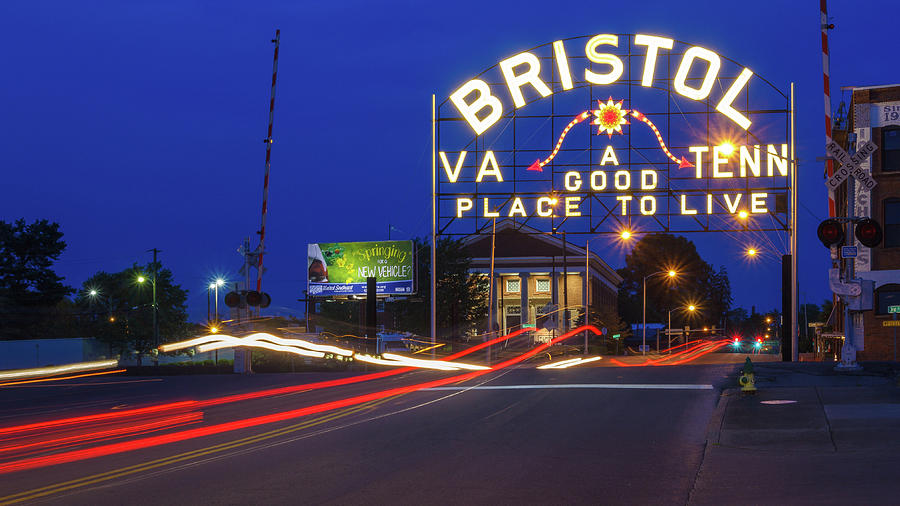 Blue Sky Photograph - First Night Of The Bristol Sign With New Led Bulbs by Greg Booher