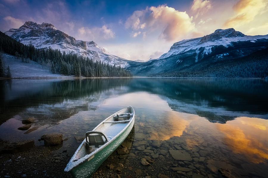Banff Photograph - First Snow Emerald Lake by Yongnan Li ?????