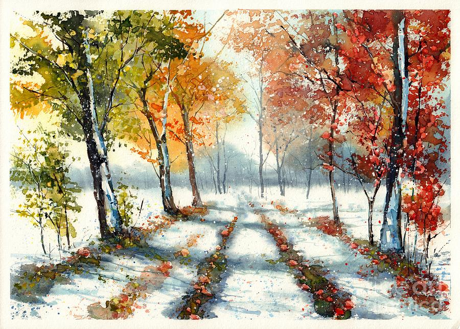 Countryside Painting - First Snow by Suzann Sines