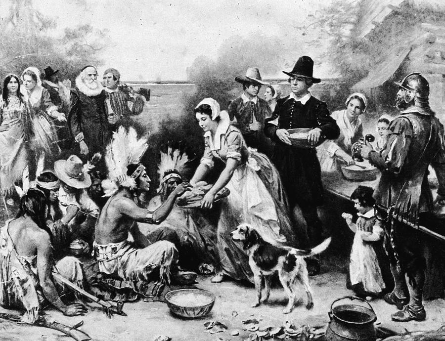 First Thanksgiving Dinner Illustration Photograph by American Stock Archive