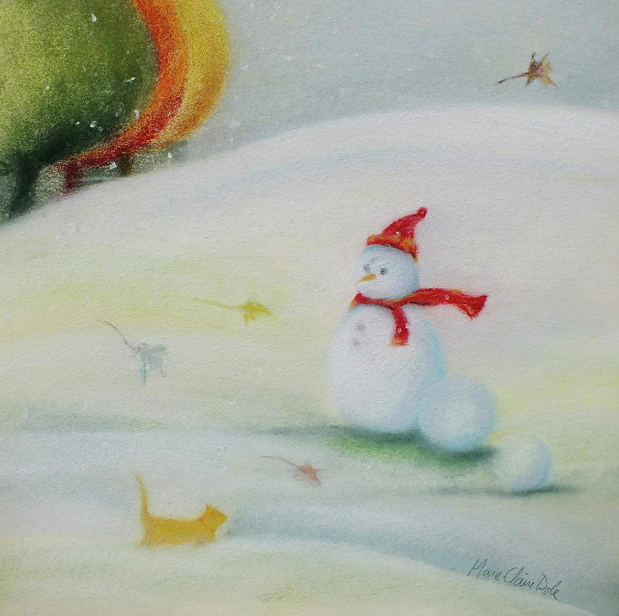 Snowman Pastel - First Wintry Day by Marie-Claire Dole
