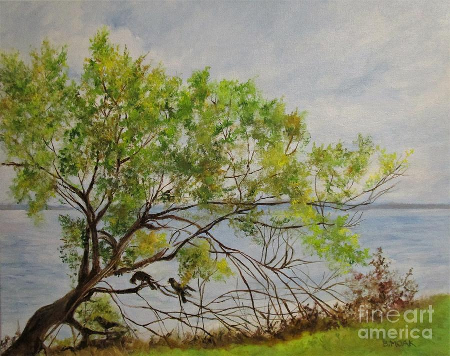 Impressionistic Painting - Fish Crow At Dunedin Causeway by Barbara Moak