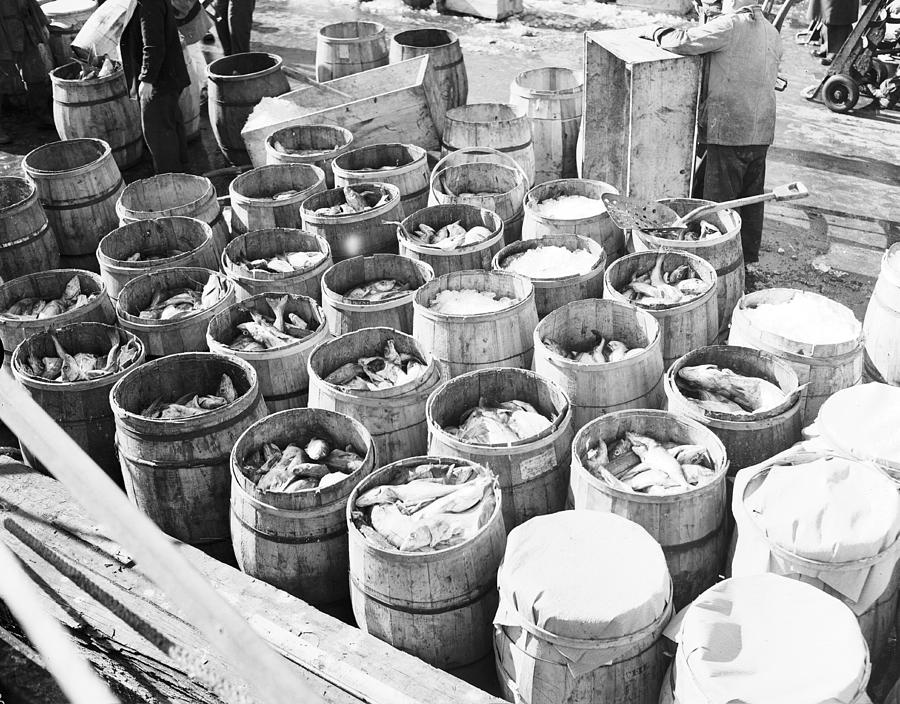 Fish For Sale In Barrels At The Fulton Photograph by Bert Morgan