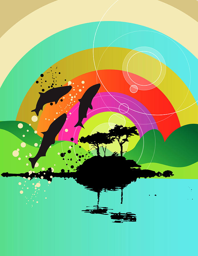 Fish Jumping Out Of Lake With Rainbow Digital Art by New Vision Technologies Inc
