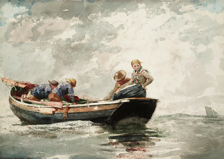 Winslow Homer Painting - Fisher Folk In A Dory, 1881 by Winslow Homer