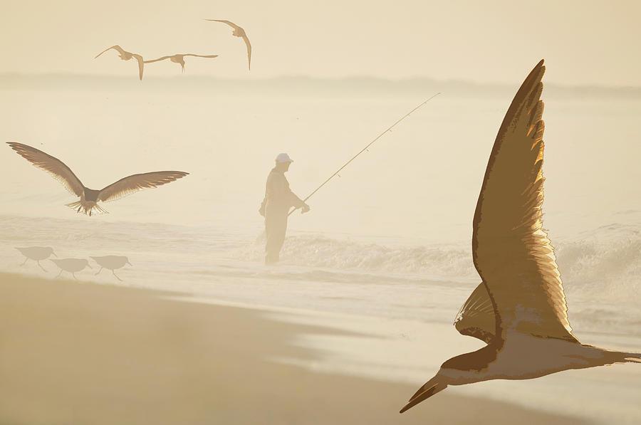 Fisherman And Shorebirds Digital Art by Johann  Schumacher