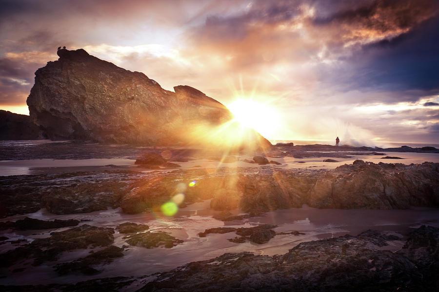 Fisherman Enjoying The Sunrise Photograph by Chemc