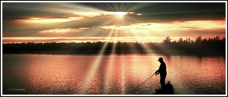 Fisherman, Spiritual Sunset Above a Mountain Lake by A Gurmankin