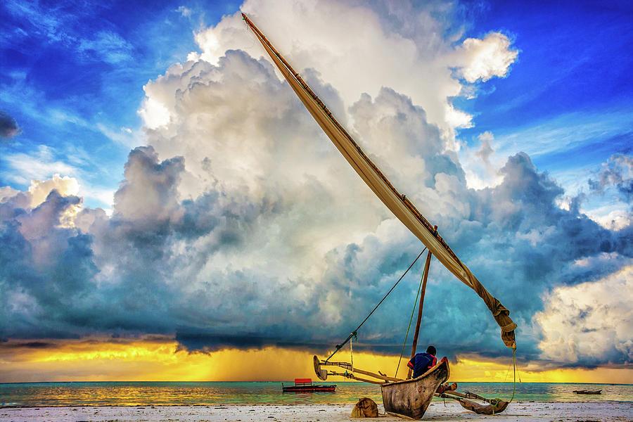 Fisherman Watching Storm Cloud, Zanzibar Photograph by Adamjasonmoore.com