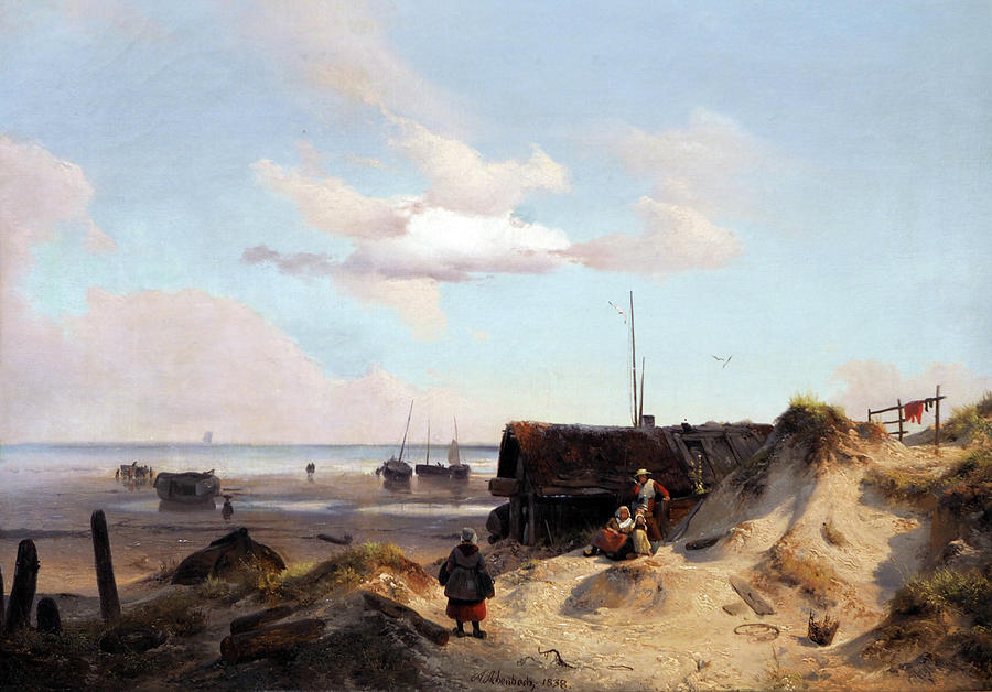 Fisherman's Cottage in the Dunes by Andreas Achenbach