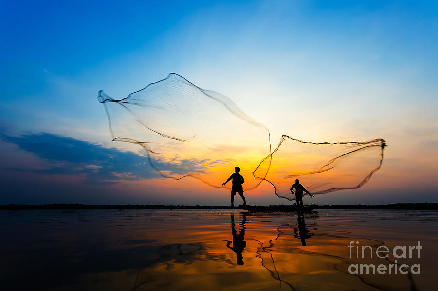 Shadow Photograph - Fishermans In Action When Fishing At by Twstock