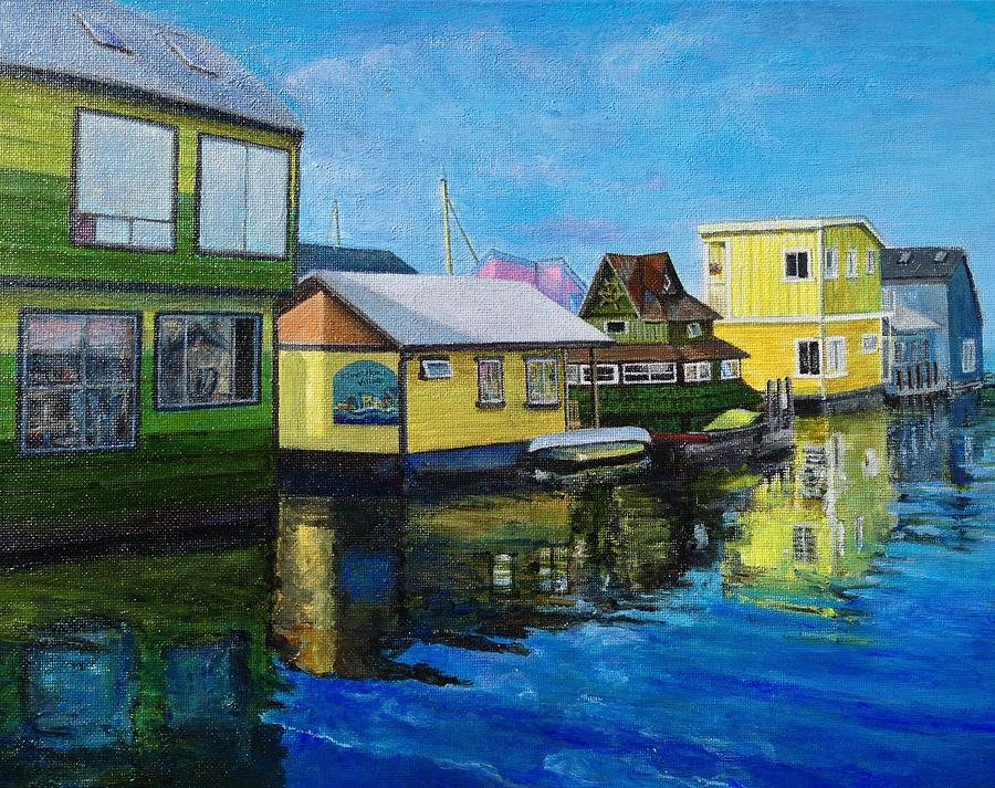Realistic Painting - Fishermans Wharf In Victoria by Lin-Lin Mao