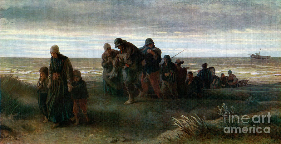 Fishermen Carrying A Drowned Man Drawing by Print Collector