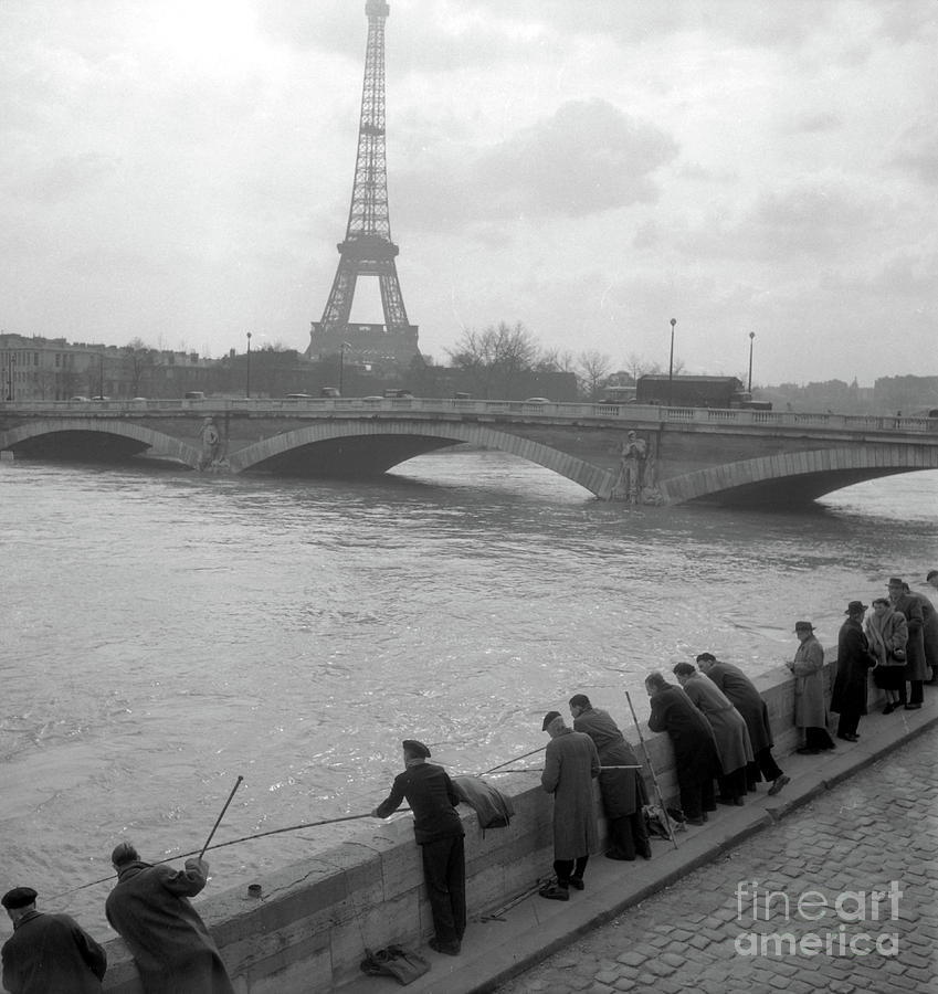 Fishermen during the floods of the Seine, Eiffel Tower in the background by French School