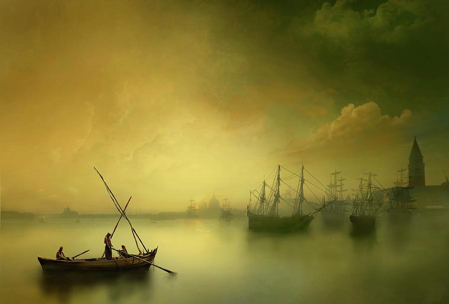 Fishermen In Lagoon Photograph by Simpli