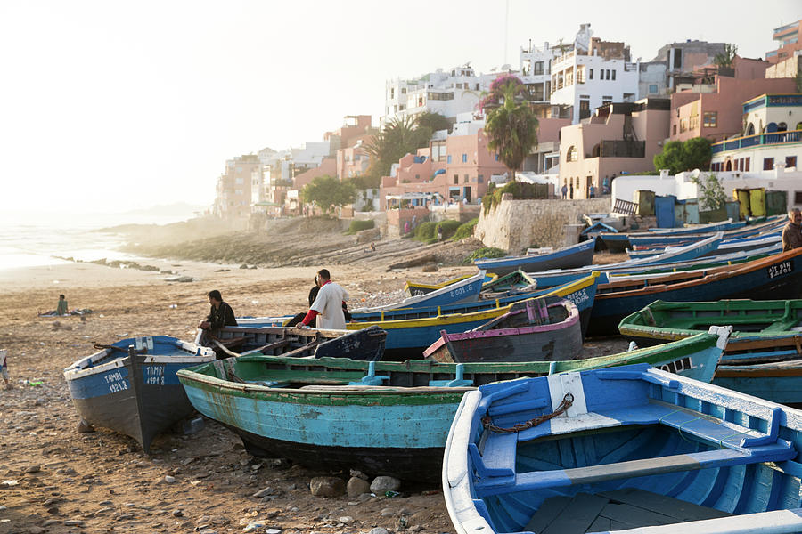 Fishermen With Boats On The Beach At Photograph by Tim E White
