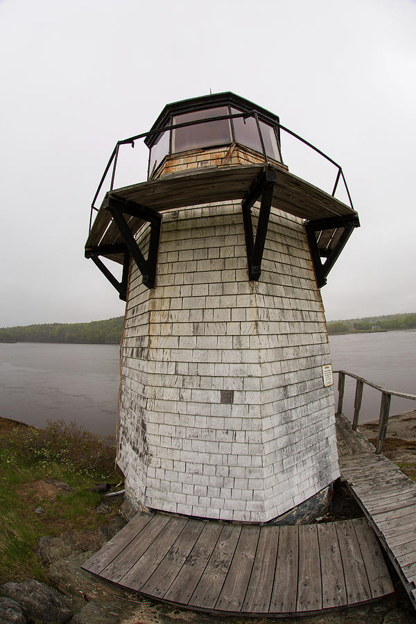 FishEye close up view of Squirrel Point Light in Arrowsic Maine by Kyle Lee