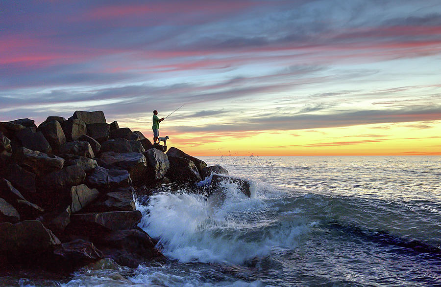 Tamarack Beach Photograph - Fishing At Sunset by Ann Patterson