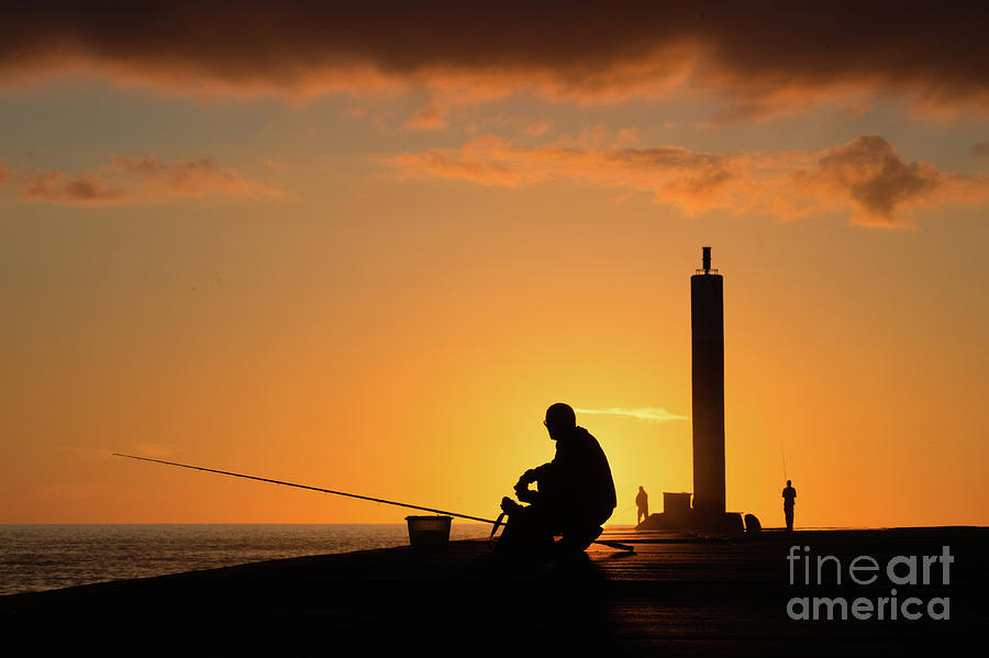 Fishing at Sunset in Aberystwyth by Keith Morris
