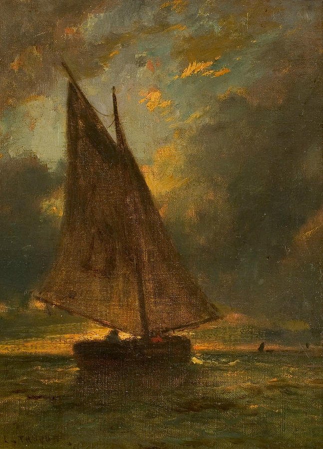 Fishing Boat at Sea by Constant Troyon