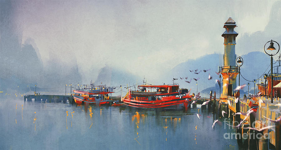 Lighthouse Digital Art - Fishing Boat In Harbor At by Tithi Luadthong