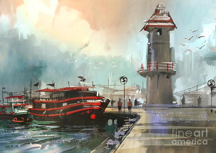 Concept Digital Art - Fishing Boat In Harbor,digital by Tithi Luadthong