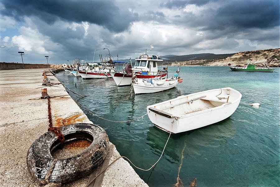 Fishing Boats Along The Harbour Wall Photograph by Lee Stevens