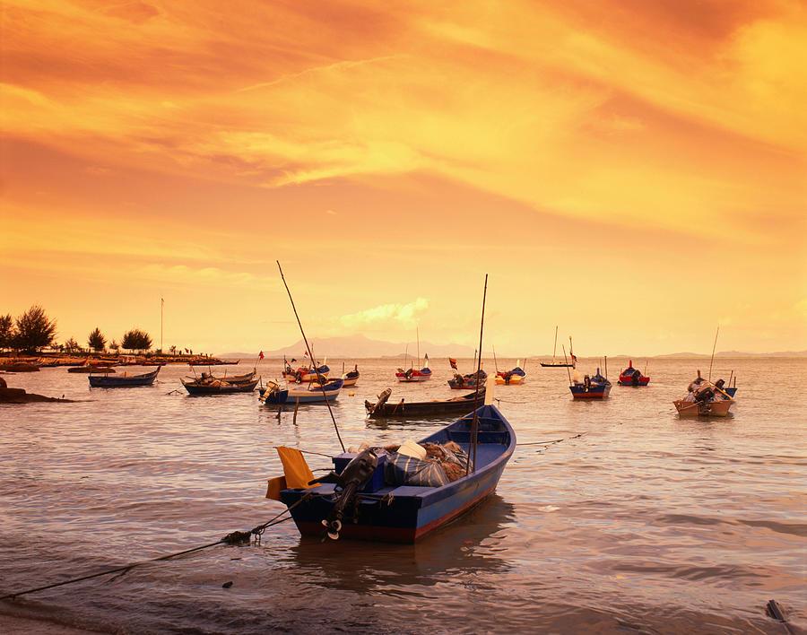 Fishing Boats At Tanjong Bunga, Malaysia Photograph by Manfred Gottschalk